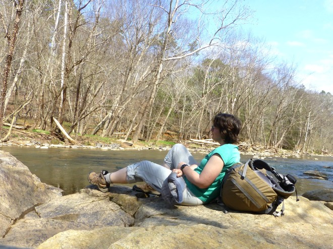 The author chillin' on the rocky bank of the Eno River.